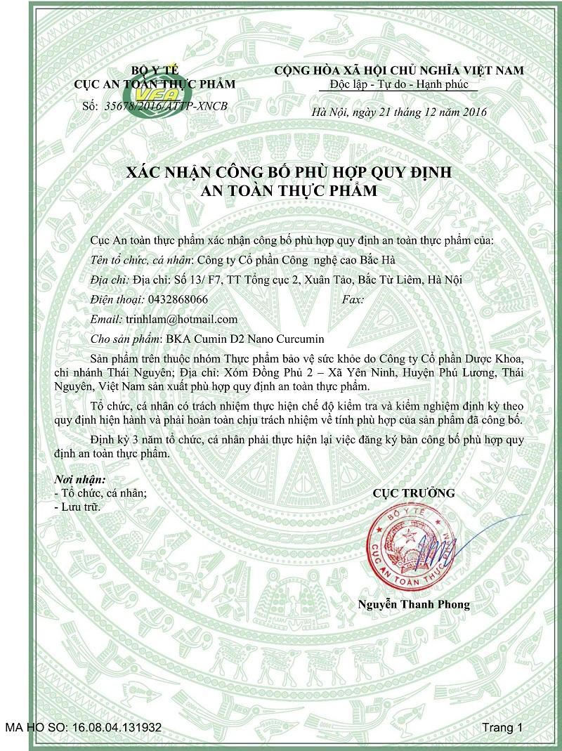 Xác nhận công bố BKA Cumin D2 do cục ATTP, Bộ Y tế cấp