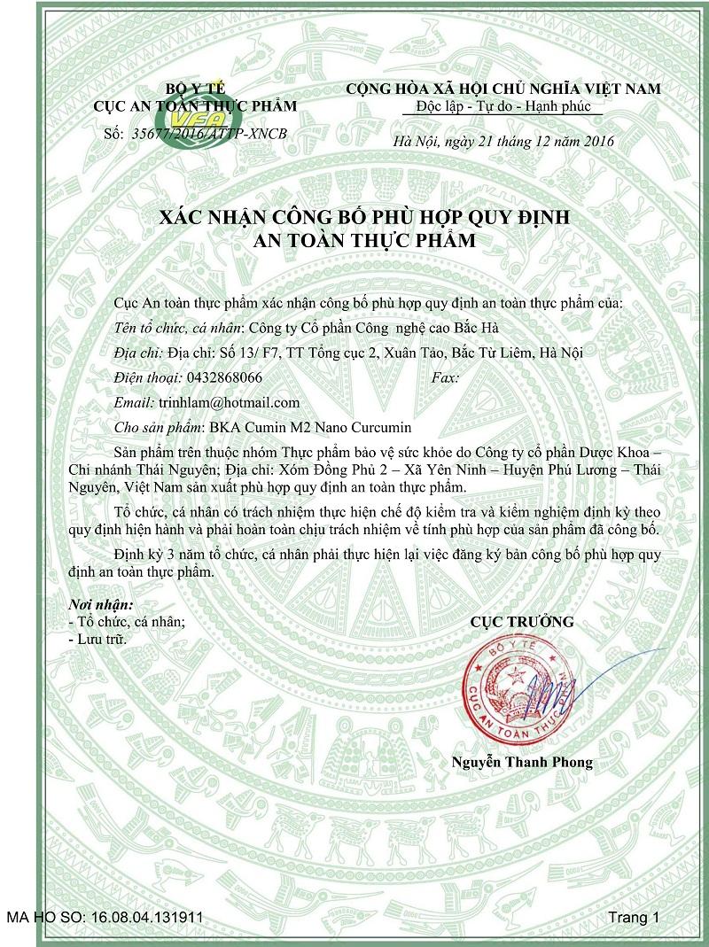 Xác nhận công bố BKA Cumin M2 do cục ATTP, Bộ Y tế cấp